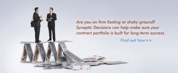 Are you on firm footing or shaky ground? Synaptic Decisions can help make sure your contract portfolio is built for long-term success. Find out how >>